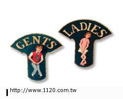紳士小姐掛飾/玻璃纖維手工製品-裝飾品 傢飾 廁所門牌